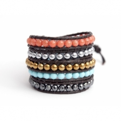 Mix Colored Wrap Bracelet For Woman - Precious Stones Onto Bordeaux Leather