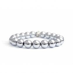 Silver Hematite Bead Bracelet For Woman
