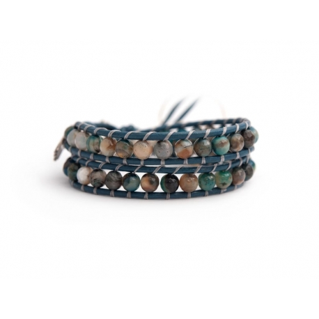 Blue Wrap Bracelet For Woman - Precious Stones Onto Old Purple Leather