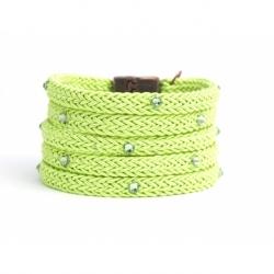 Bracciale donna corda verde foglia e Swarovski