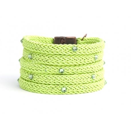 Green Leaf Silk Rope Bracelet For Woman With Swarovski Strass