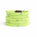 Green Leaf Silk Rope Bracelet For Woman With Swarovski Strass