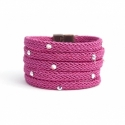 Fuchsia Silk Rope Bracelet For Woman With Swarovski Strass