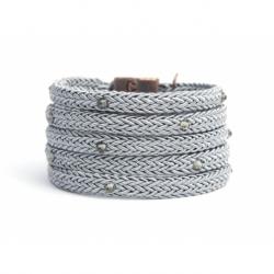 Bracciale donna corda grigio perla e Swarovski