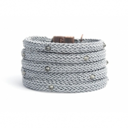 Grey Silk Rope Bracelet For Woman With Swarovski Strass