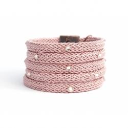 Bracciale donna corda rosa antico e Swarovski