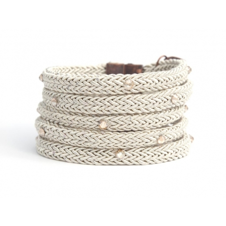 Sand Silk Rope Bracelet For Woman With Swarovski Strass