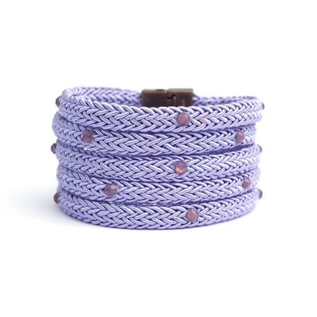 Lavender Silk Rope Bracelet For Woman With Swarovski Strass