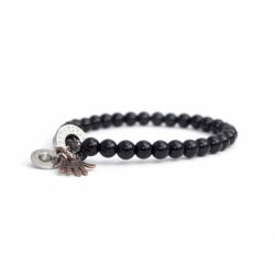 Onyx Bead Bracelet For Man With Swarovski Strass And Steel Round Tag Charm