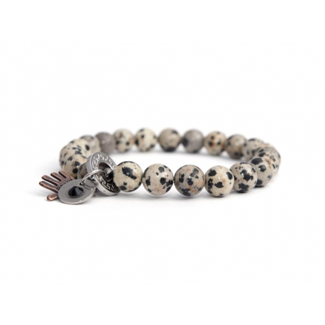 Dalmatian Jasper Bead Bracelet For Man With Swarovski Strass And Steel Round Tag Charm