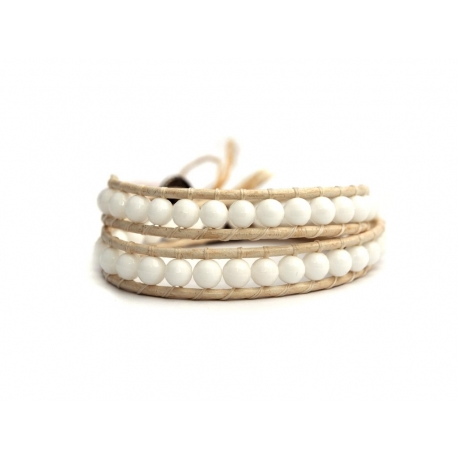 White Wrap Bracelet For Woman - Precious Stones Onto Pearl Leather