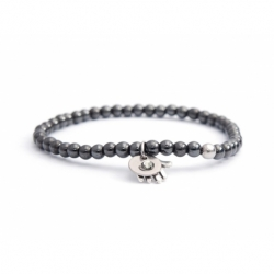 Hematite Bead Bracelet For Man With Swarovski Strass And Steel Round Tag Charm