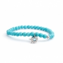 Turquoise Paste Bead Bracelet For Man With Swarovski Strass And Steel Round Tag Charm