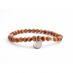 Tiger Eye Bead Bracelet For Man With Swarovski Strass And Steel Round Tag Charm