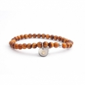 Tiger Eye Bead Bracelet For Man With Swarovski Strass And Steel Round Tag Charm