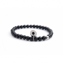 Black Onyx Bead Bracelet For Man With Swarovski Strass And Steel Round Tag Charm