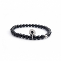 Black Onyx Bead Bracelet For Man With Swarovski Strass And Steel Round Tag Charm