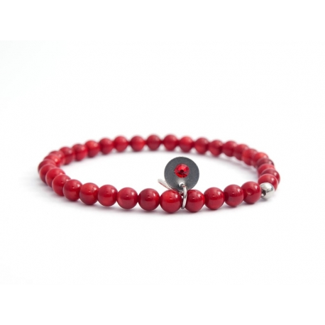 Bamboo Bead Bracelet For Man With Swarovski Strass And Steel Round Tag Charm