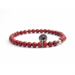 Red Jasper Bead Bracelet For Man With Swarovski Strass And Steel Round Tag Charm
