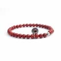 Red Jasper Bead Bracelet For Man With Swarovski Strass And Steel Round Tag Charm