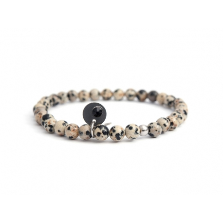 Dalmatian Jasper Large Beaded Bracelet For Man With Swarovski Strass Charm