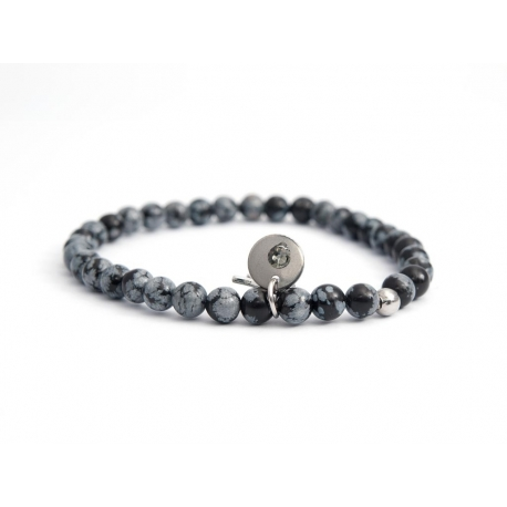 Obsidian Flake Bead Bracelet For Man With Swarovski Strass And Steel Round Tag Charm