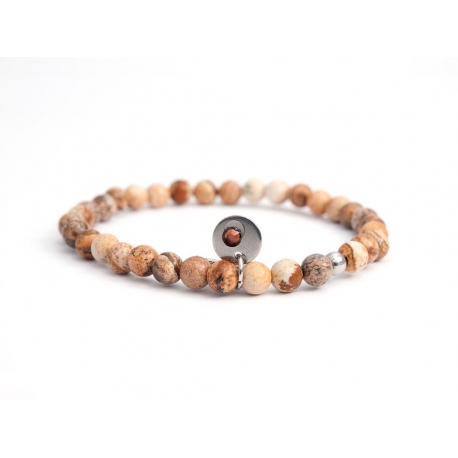 Picture Jasper Bead Bracelet For Man With Swarovski Strass And Steel Round Tag Charm