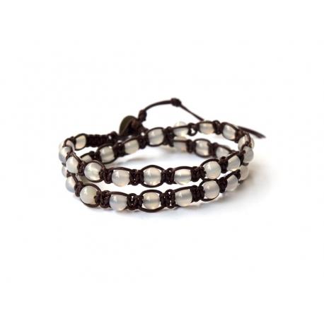 White Transparent Agate Tibetan Bracelet
