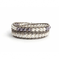 White And Purple Swarovski Pearls Wrap Bracelet For Women. Pearls Onto Onto Grey Leather