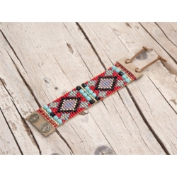 Red Beads Loom Bracelets For Woman