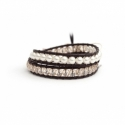 Swarovski Crystals And Pearls Wrap Bracelet For Woman. Precious Beads Onto Dark Brown Leather