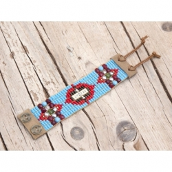 Blue Sky And Pink Beads Loom Bracelets For Woman