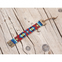 Blue And Red Beads Loom Bracelets For Woman
