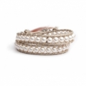 White Swarovski Pearls Wrap Bracelet For Woman. Gentle Color Onto White Pearl Leather