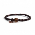 Custom Brown Wood Beads Bracelet With Number