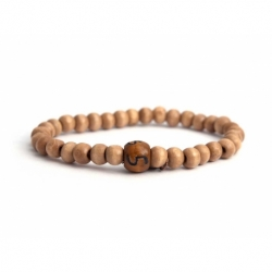 Custom Light Brown Wood Beads Bracelet With Number