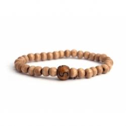 Custom Light Brown Wood Beads Bracelet With Number