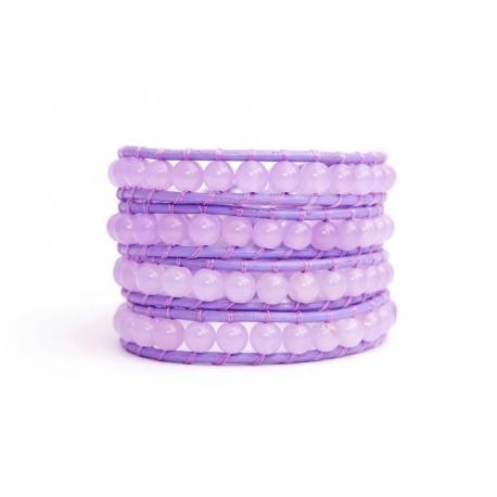 Lavender Wrap Bracelet For Woman - Precious Stones Onto Lavender Leather