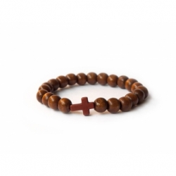 Dark Brown Wood Big Beads Bracelet With Cross