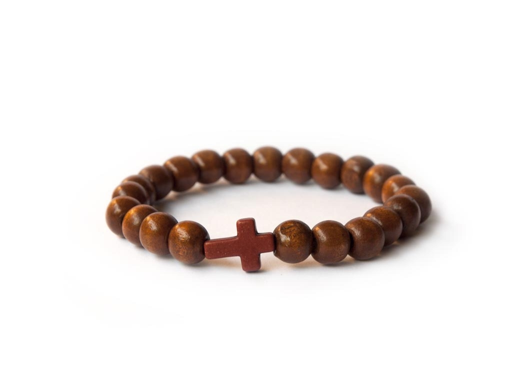 Dark Brown Wood Beads Bracelet With
