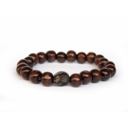 Brown Wood Beads Bracelet For Man With Skull