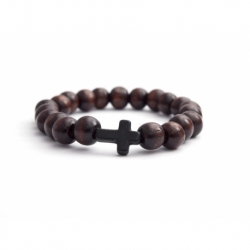 Dark Brown Wood Big Beads Bracelet For Man With Black Cross