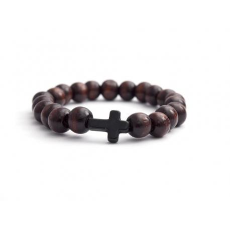 Dark Brown Wood Big Beads Bracelet For Man With Black Cross