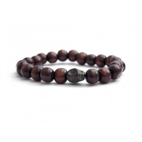 Dark Brown Wood Big Beads Bracelet With Skull