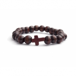 Dark Brown Wood Big Beads Bracelet For Man With Brown Cross