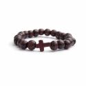Dark Brown Wood Big Beads Bracelet For Man With Brown Cross