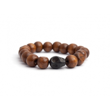 Light Brown Wood Big Beads Bracelet For Woman With Skull