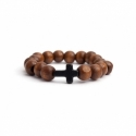 Light Brown Wood Big Beads Bracelet For Woman With Black Cross