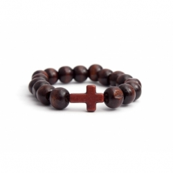 Dark Brown Wood Big Beads Bracelet For Woman With Brown Cross