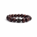Dark Brown Wood Bead Bracelet With Skull
